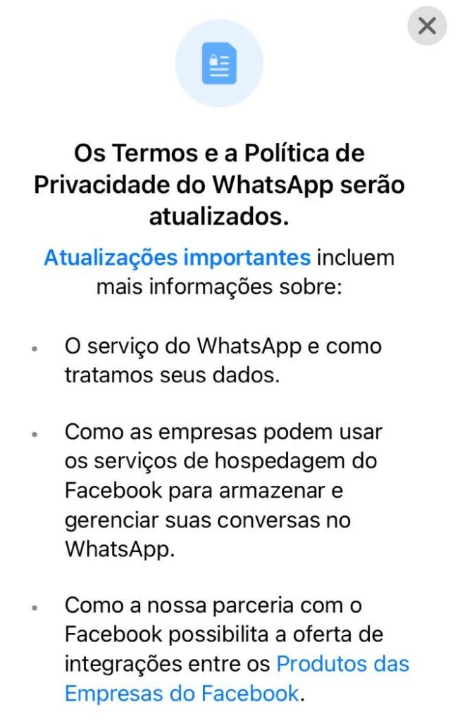 Novas regras do WhatsApp